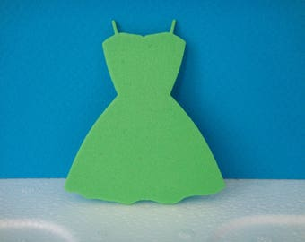 Green dress cut foam for scrapbooking and card