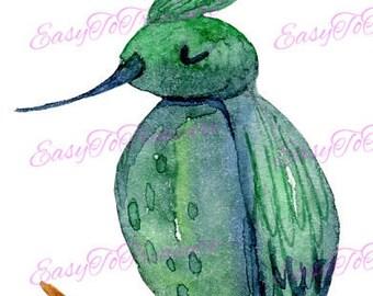 Digital Download Clipart – Garden Hummingbird on Branch JPEG and PNG files