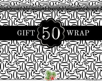 50 Wrapping Paper Roll | Black And White Matte Gift Wrap For A 50th Anniversary, 50th Birthday Party | Two Sizes 9 or 18 feet in length