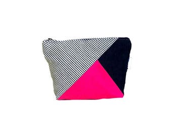 Canvas Cosmetic Pouch - Cosmetic Bag - Zipper Pouch - Toiletries Bag - Canvas Pouch - Pink Makeup Bag - Travel Pouch