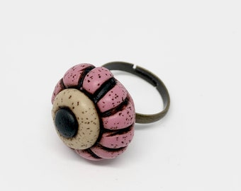 polymer clay ring, adjustable ring, handmade,