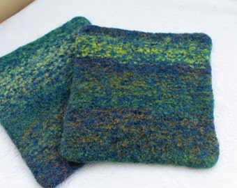 Set Blue Green Wool Felt Hot Pads Trivets, Blue Wool Pot Holder Set, Blue Green Knit Felted Trivet Set, Knit Felted Boiled Wool Trivet Set