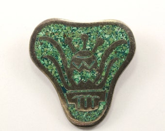 Vintage Mexico Green Turquoise Pin/Brooch 925 Sterling BB 914