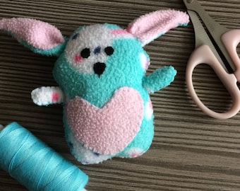 Little Upcycled Bunny blue pink Handsew Rabbit Plush