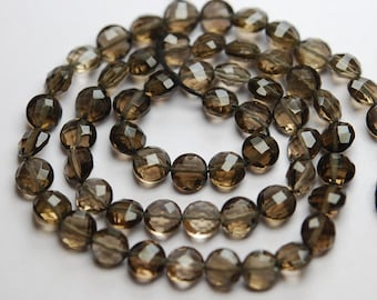 13 Inch Strand,Finest Quality,Natural Smoky Quartz Faceted Coins Beads,6mm