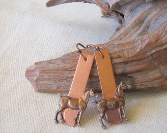 copper horse dangle earrings