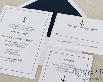 Anchor Wedding Invitation, Nautical Wedding Invitation, Boat Wedding Invitation, Sailing Wedding Invitation, Preppy Anchor Wedding Invite