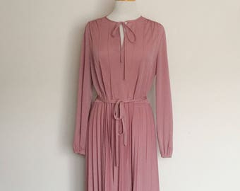 1980s Touch of Class Dusty Pink Day Dress Vintage