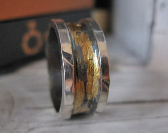 Rustic Mens Wedding Band Oxidized Silver Gold Ring Mens Wedding Ring Mens Wedding Bands Unique Mens Wedding Band Viking Wedding Ring Mens