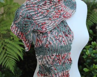 Red Pink and Gray Picasso Brioche Hand Knit Pure Merino Wool Scarf