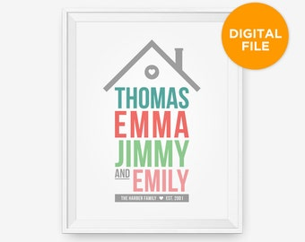 Printable Personalized Home Family Print, Family Art, Children Decor, Nursery Wall Art - Different Size - Instant Download