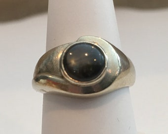 Vintage Black Onyx 14K White Gold Ring  Size 7.5 Mens Ladies jewelry accessories