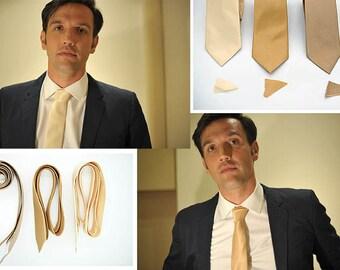 No#69,#70,#74semi shiny cream tan gold neck ties,light cream,tanned gold, dark gold, groomsmen,men,dusty yellow brown gold wedding neck ties