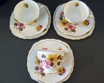 Vintage 1960's Ridgway Potteries ROYAL VALE Pattern 8218 – Three Trios – Cup and Saucer with Small Plate Plus Extra Saucer – Made in England