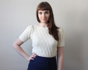 1970's white eyelet knit sweater
