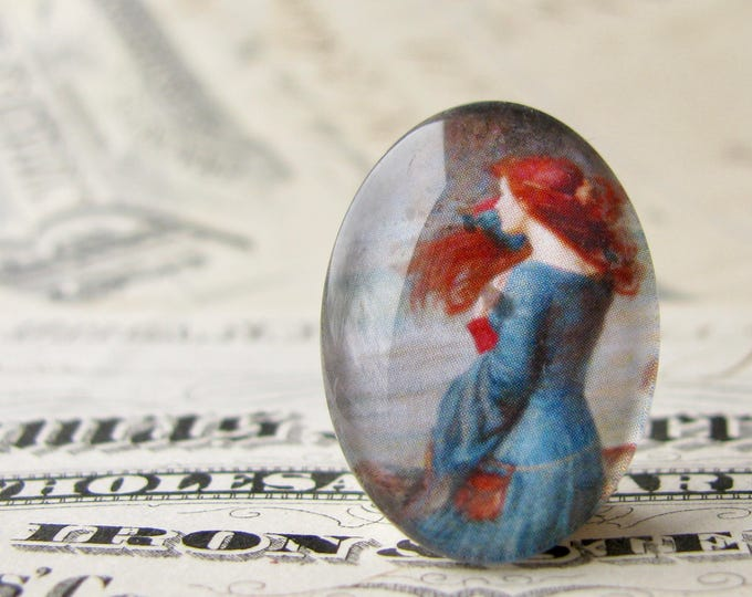 "John William Waterhouse ""Miranda"" 25x18mm glass oval cabochon, artisan crafted in this shop, Art History collection, photo glass, handmade"
