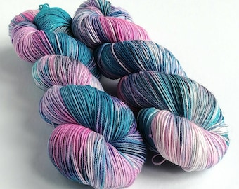 Hand dyed yarn pre-order.  Shocker colourway, variegated wool yarn. Dyed to order. Kettle dyed, you choose base.  Pink, blue, grey yarn.