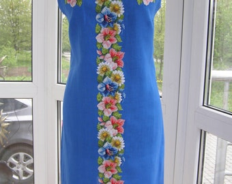 Dress with embroiderybeaded embroidery, beaded flowers, embroidered in beads, flowers handmade embroidery, ukrainian embroidery