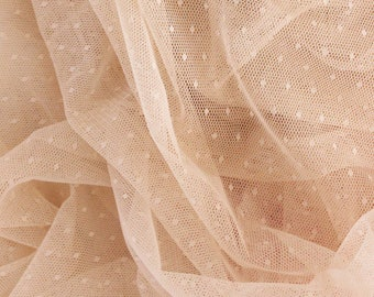 1/2 YD Beige Swiss Dot Tulle Point d'esprit perfect for Bra Making