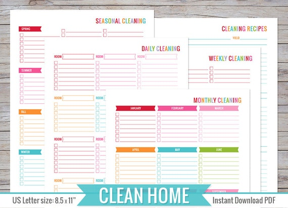 Cleaning Planner 8 5 X 11 Printable Perfect For Home Binder