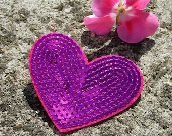 Patch fusible sequin heart embroidered patch applique