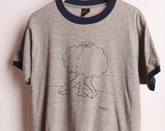 Nuage en sérigraphie de nouveaux copains sur gris VINTAGE chiné et bleu ras du cou taille xl t-shirt