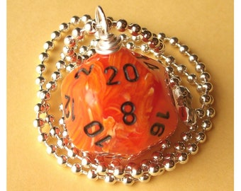 LEGACY Dungeons and Dragons - D20 Dice Pendant - Orange Vortex - Gamer Geek RPG Role Play