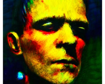 Frankenstein Giclee Print - Horror Icon Boris Karloff As The Monster - Colour Variant