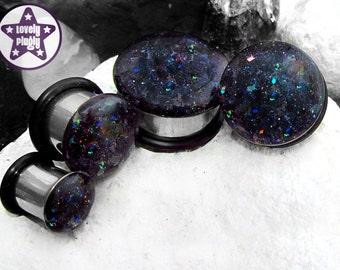 "Orgone Accumulator Glitter Plug / Gauge Black Holographic Rainbow 1/2"", 9/16"", 5/8"", 11/16"" / 12mm, 13mm, 14mm, 16mm, 18mm"