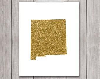 New Mexico Art - 8x10 Gold Glitter, New Mexico State, Art Print, New Mexico Printable Art, State Silhouette, Glitter Print