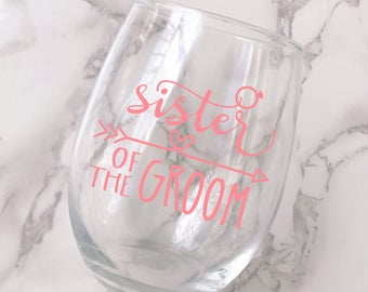 Sister of the Groom Wine Glass Decal - DECAL ONLY