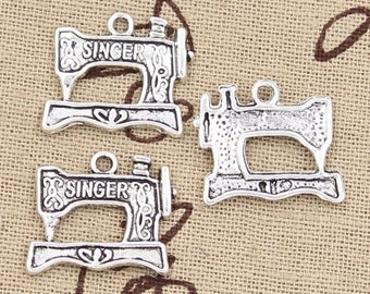 6 Sewing Machine Charms Antique Silver Tone Sewing Seamstress Quilt Embroidery Charm Bracelet Bangle Bracelet Pendants #1013