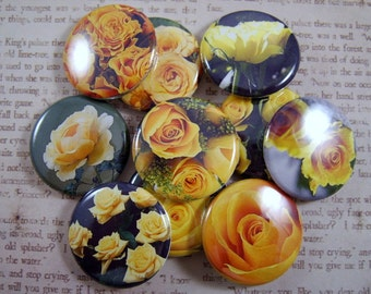 Rose Magnets, Yellow Rose Magnets, Rose Pins, Yellow Rose Pins, Fridge Magnets