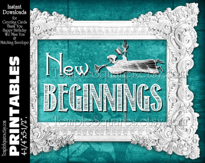 PRINTABLE New Beginnings Invitations and Matching Envelopes. diy YW Young Women Mutual Theme Vintagle Chalkboard Style