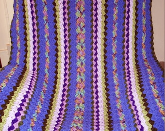 Purple and Green Crochet Blanket, Multicolored Lap, Throw or Wheelchair Blanket with Free US Shipping by DRCrafts