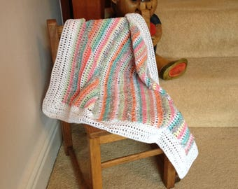 Cotton Crocheted Baby Blanket in 100% Cotton.  Multi pastels with white trim.