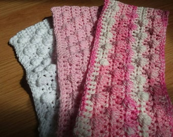 Crochet Swiffer covers in pink and white tones, swiffer duster, swiffer mop, reusable Swiffer pad,  Swiffer sweeper