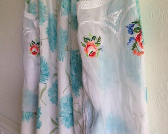 SALE Womens Floral Woodsfolk Turquoise Folk Dress in Vintage Cotton with Embroidered bodice Petite size 6-8 Blue and White Repurposed floral