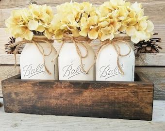 Table Decor, Farmhouse Decor,Country Decor, Mason Jar Centerpiece, Planter  Box With 3 Quart Mason Jars, Flower Arrangement,Rustic Home Decor