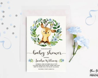 DEER BABY SHOWER Invitation. Little Buck Woodland Invitation. Blue Floral Baby Boy Invite. Wreath. Leaves. Modern Calligraphy Invite. DEER2