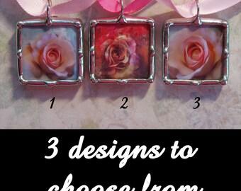 Soldered Art Charm, Glass Pendant, Rose Design, Wedding Charm, Encouragement Pendant, Survivor Gift