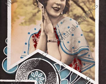 Vintage 1920s Flapper Girl Photo - Digital Image - Instant Download - Art Deco Hand Coloured Photograph