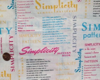 SIMPLICITY Pattern 100% Cotton Fabric ~ 2013 by Fabric Traditions ~ Fat Quarter / FQ