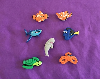 7-pc Finding Dory / Nemo Shoe Charms for Crocs, Silicone Bracelet Charms, or Pencil toppers, Party Favors, Jibbitz