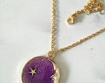 Moon and Star Necklace, Star and Moon Necklace, Gold Moon Necklace, Gold Star Necklace, Moon Necklace, Star Necklace, Halloween Necklace