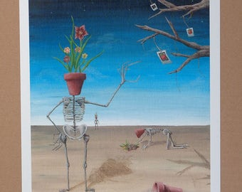 Art Print Surreal, Surreal Landscape, Surreal Skeleton Art, Surreal Painting Print, Surreal Art, Creepy Art, Creepy Painting, Skeleton Art
