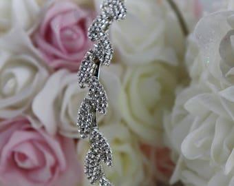 Dimaond Bridal Headband, Diamond Bridal Hair Accessory, Diamond Rhinestone Wedding Headband, Silver Rhinestone Hair Piece, Hair Accessory