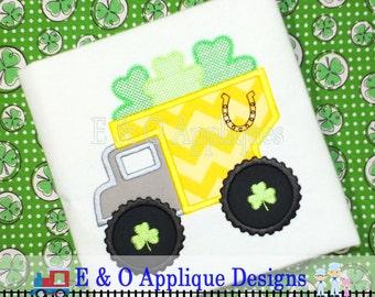 St Patrick's Digital Applique Design - St Patrick's Applique Design - St Patrick Embroidery Design - Dump Truck Applique - Clover Embroidery