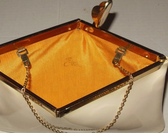 Vintage White Purse Handbag Pocketbook Gold Chain Hinged Clasp Etra