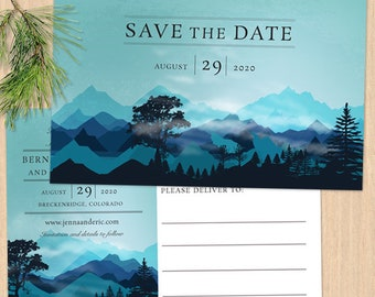 Blue Forest Mountain Range Save the Date Postcard or Flat Card, Printable, Evite or Printed (US Only) Announcements